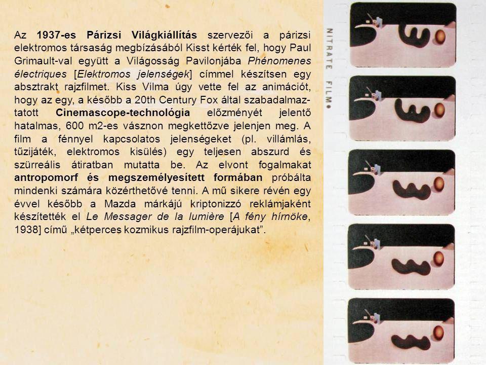 Az 1937-es Párizsi Világkiállítás szervezői a párizsi elektromos társaság megbízásából Kisst kérték fel, hogy Paul Grimault-val együtt a Világosság Pavilonjába Phénomenes électriques [Elektromos jelenségek] címmel készítsen egy absztrakt rajzfilmet.